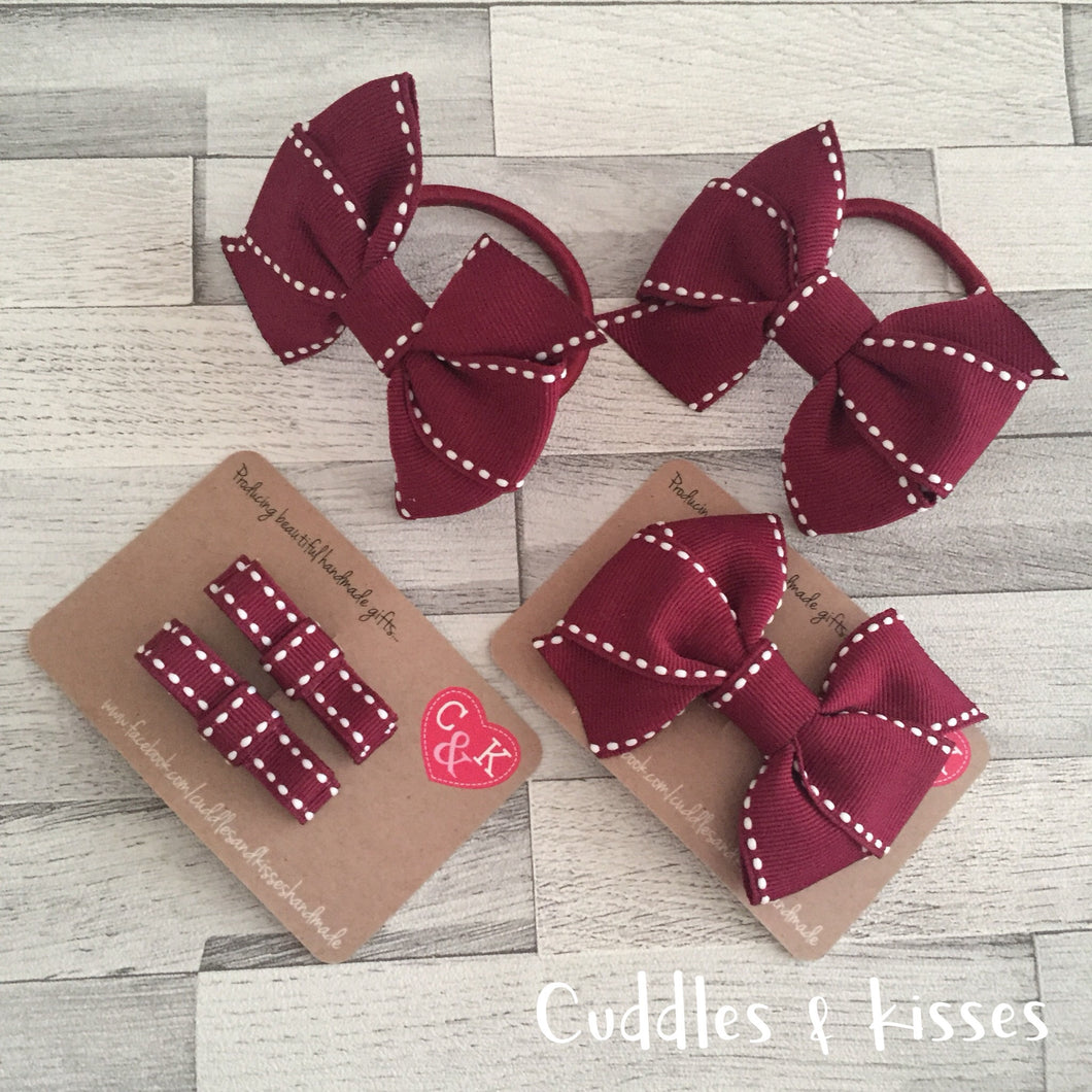 Burgundy school bow set