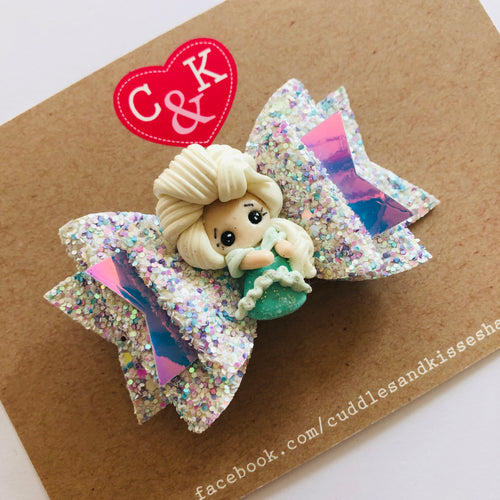 Elsa inspired hair bow