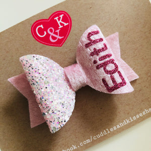 Baby pink personalised bow