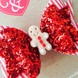 Small Red and White Gingerbread Bow
