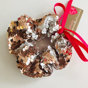 Rose gold sequin scrunchie