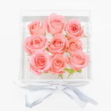 Crystal Clear Love - 9 Pink Roses