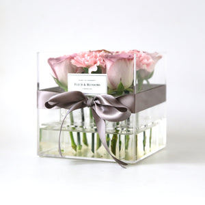 Crystal Box Carnations with Purple Roses