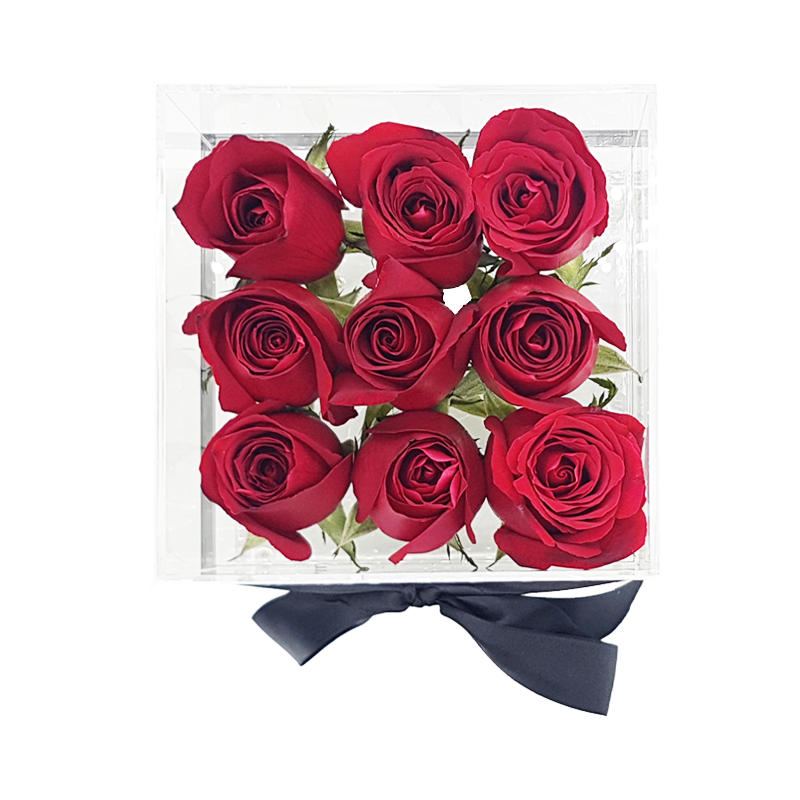 Crystal Clear Love of 9 Red Roses