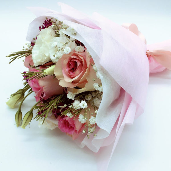 Rose Hand Bouquet - 6 Pink Blush Roses