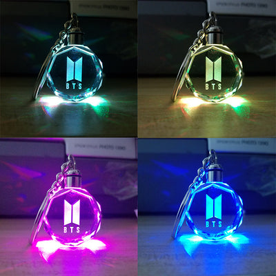 BTS Blackpink Twice EXO Seventeen GOT7 Colorful Crystal Keychain