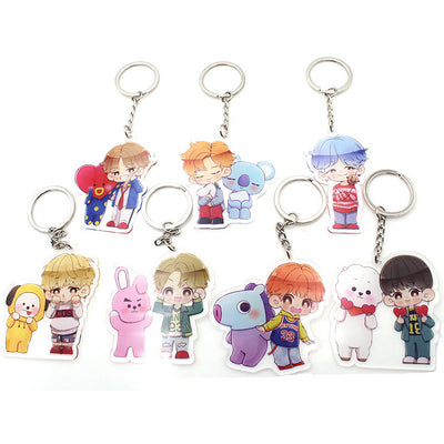 BTS BT21 Cute With BT21 and BTS's Cartoon Characters Keychain