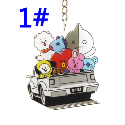 BTS BT21 With BT21 and BTS's Cartoon Characters Cute Keychain