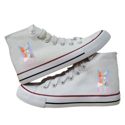 BTS Canvas Shoes (white-V)