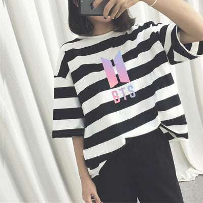BTS Bulletproof Youth League Striped T-shirt (Black One size)
