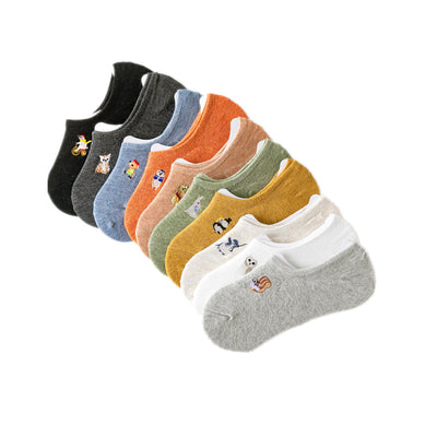 Cartoon Animal Embroidery  Low-mouth Socks