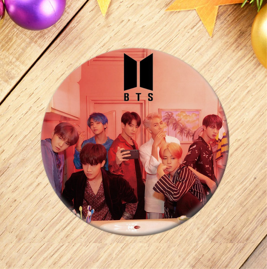 BTS Round Badge Brooch