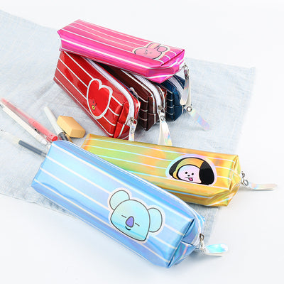 BT21 BTS Cartoon Striped Laser Pencil Case