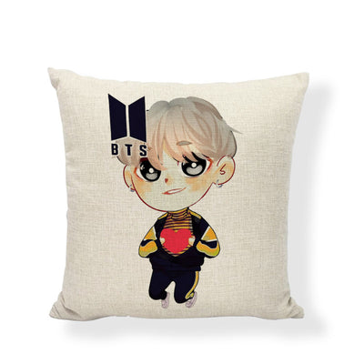 BTS High-quality Linen Cushion Printed With Animation Boys