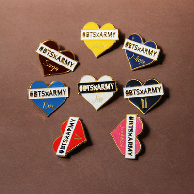 BTS Ceative Color Painted Metal Badges