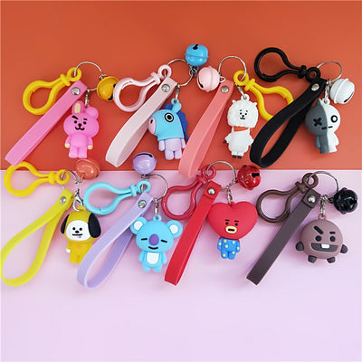 BT21 3D Silicon Keychain With Bell