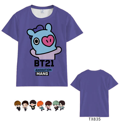 BTS BT21 Colorful Short-sleeved T-shirts