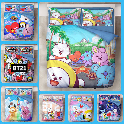 BTS BT21 Cartoon BT21 Printed Three Sets Of Bed Products