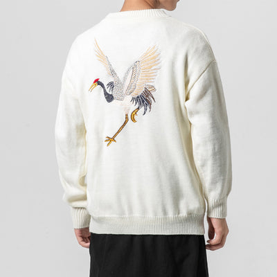Guo Feng Crane Embroidered Sweater