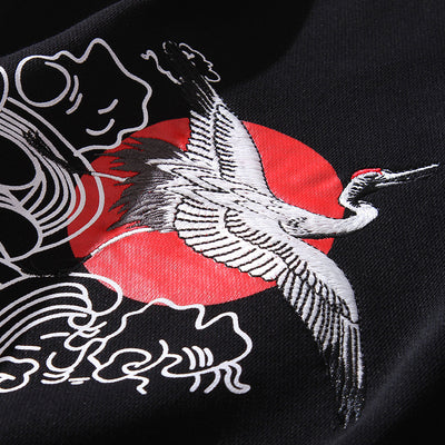 Embroidery Crane Sweaters