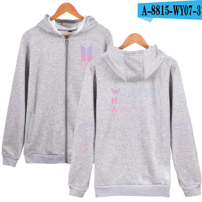 BTS New Album Love Yourself  Zipper Sweater (Grey, Navy)
