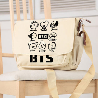 BTS Cartoon Shoulder Pack