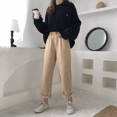new Korean version of ulzzang girl  straight pants