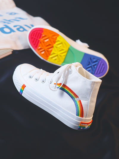 The canvas shoes with rainbow pattern