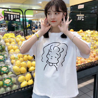 Short-sleeve Girl t-shirt Korean version