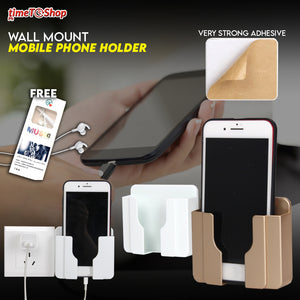 Wall Mount Mobile Phone Holder (BUY 1 TAKE 1 AND FREE EARPHONE)