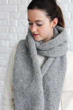 gray chunky knit winter scarf