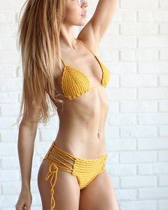 Papaya Triangle Crochet Bikini Top