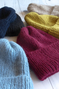 alpaca wool rib knit beanie hats