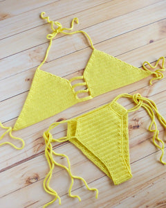 Lemon Ladder Cut Out Crochet Halter Bikini Set