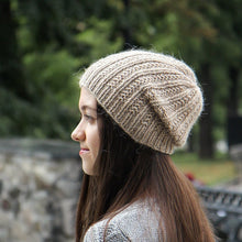 Beige Hand Knitted Woman Wool Slouch Hat