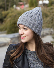 gray knit peaked beanie