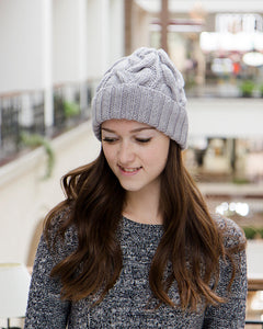 Handmade Gray Wooly Winter Beanie For Women