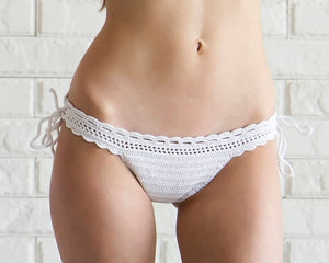 white crochet swimsuit bottom