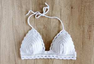 white crochet bikini top by la knitteria