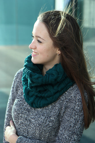 emerald green luxurious hand knit infinity scarf