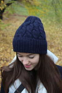 navy blue super soft knit hat