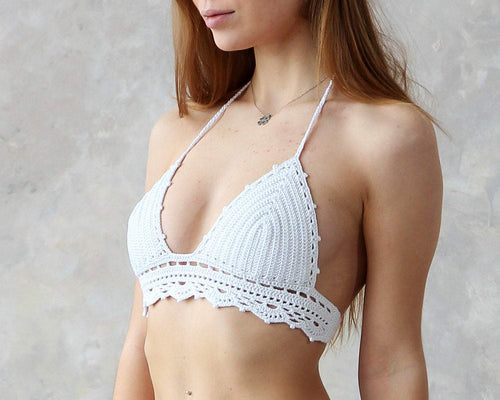 Maracuja White Crochet Lace Bralette Top