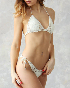Lychee Cheeky High Cut Thong Crochet Swimsuit in cream white