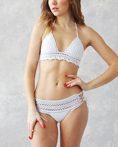 Maracuja Handmade White High Waist Crochet Lace Swimsuit by LaKnitteria