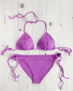 Pitaya stretchy crochet swimsuit with Full Coverage Bottom and triangle top