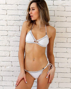 Annato Beaded White Crochet Bikini Set With Brazilian Scrunch Bottoms