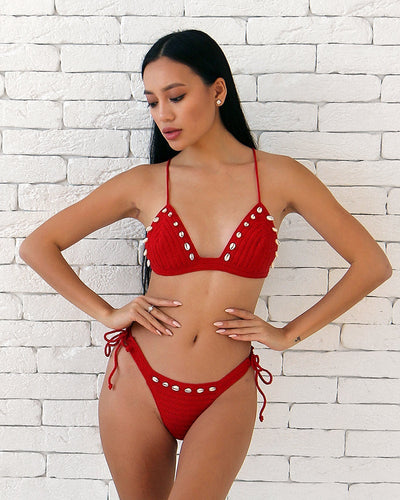 Acerola Sea Shell High Cut Thong Crochet Bathing Suit