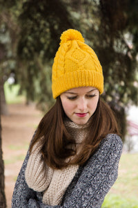 Yellow Ski Bobble Hat For Women