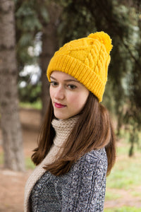 Mustard Cable Knit Hat With Pompon