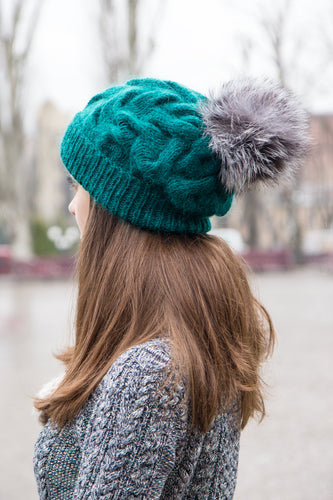 emerald green oversized knit hat with pom pom
